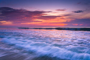Waves on the Atlantic Ocean at sunrise, St. Augustine Beach, Florida.