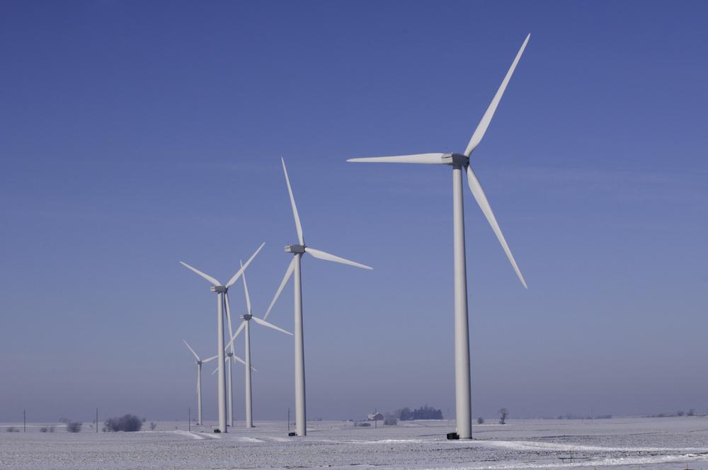 Wind turbines in rural Illinois in winter